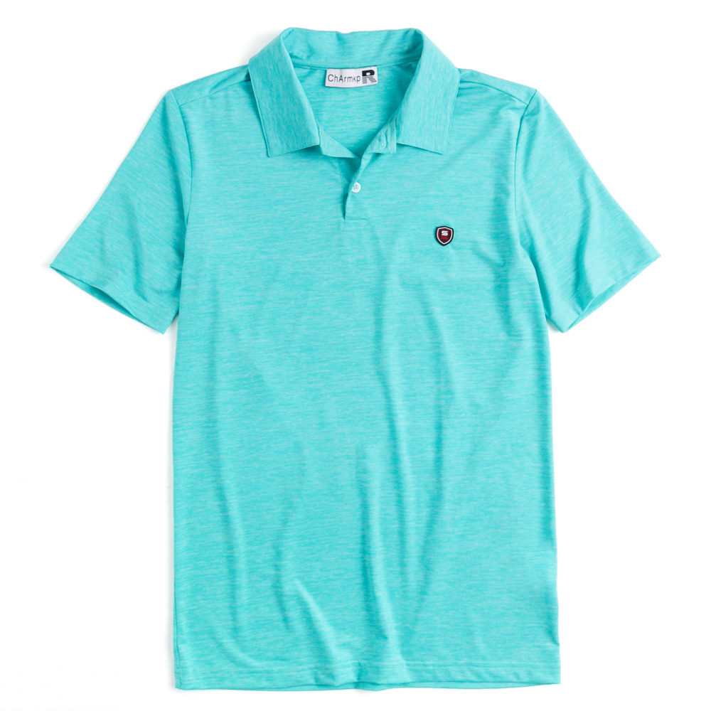 Charmkpr Mens Solid Color Elastic Short Sleeve Golf Shirt
