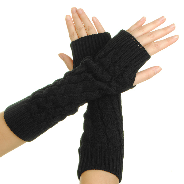 Women's Winter Arm Warmer BRAIDED KNIT Mitten Fingless Glove