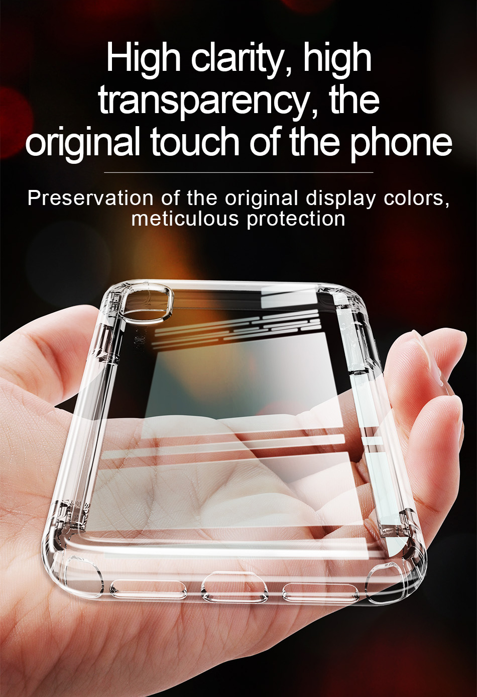 Baseus Protective Case For iPhone XS 2018 Clear Transparent Air Cushion Corners Back Cover