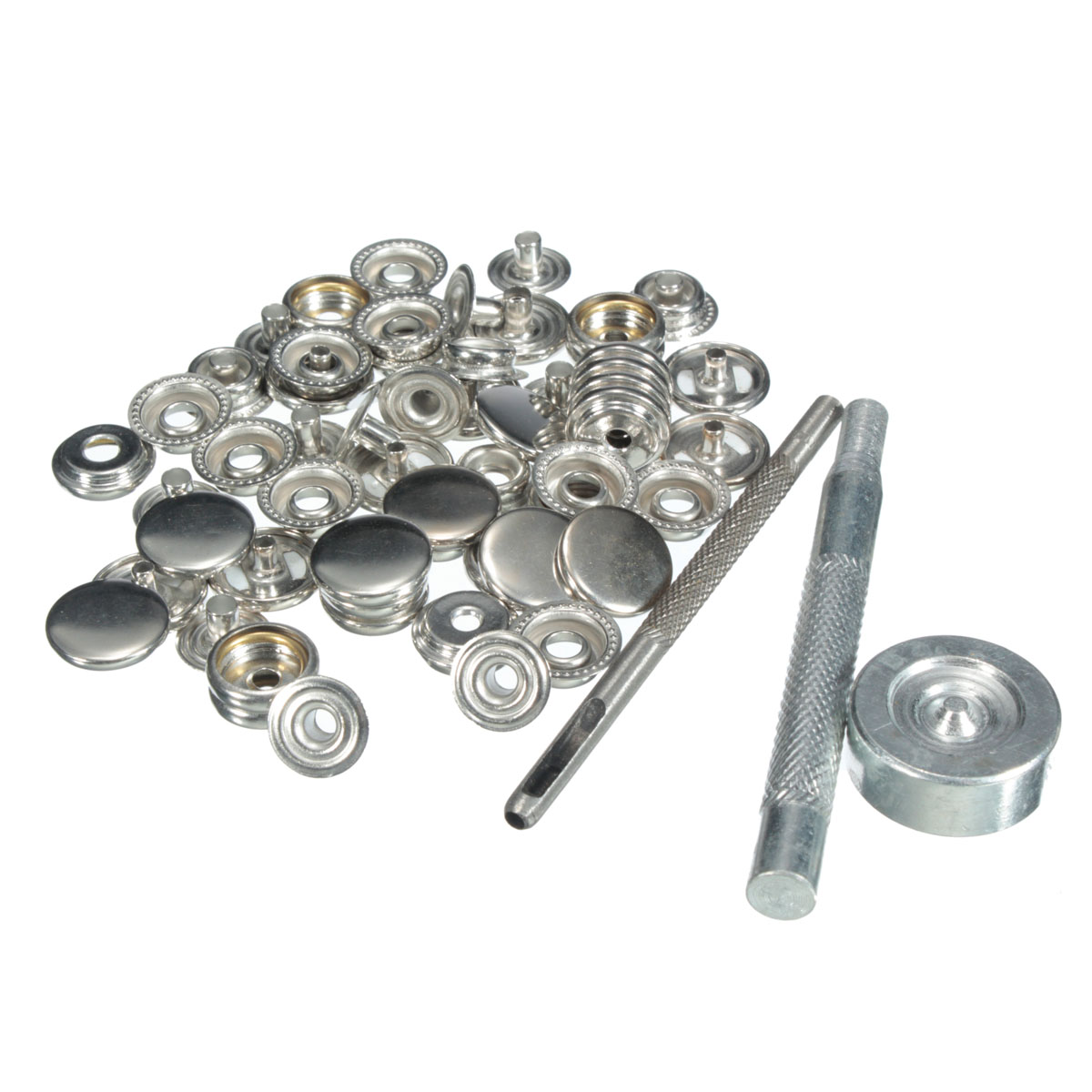 Sliver Matt Snap Poppers Fasteners Stud 15 Sets 15mm Clothing Jacket Button