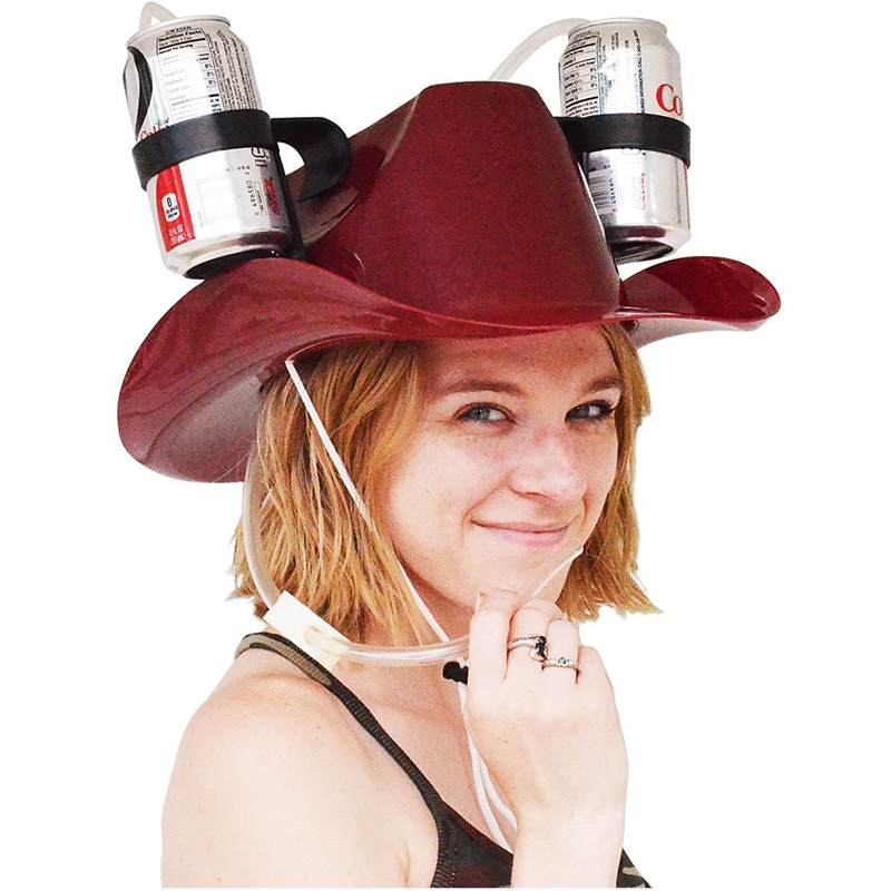 IPRee® Lazy Beverage Helmet Drinking Beer Cola Coke Soda Cowboy Hat Lounge Straw Cap Camping BBQ Party
