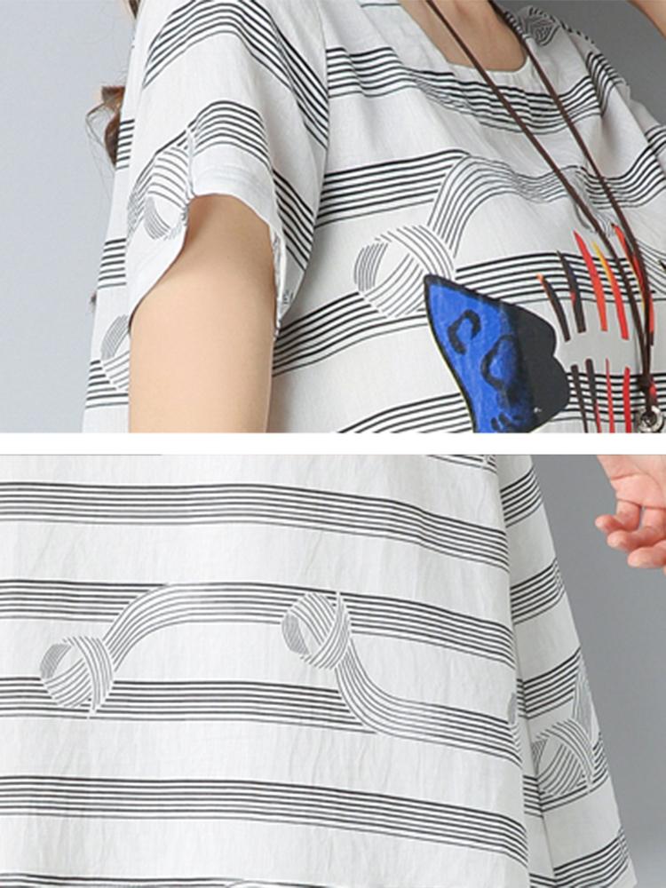 Linen Striped Print Cotton Tops Vintage Dress for Women