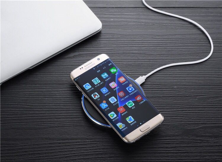 K1 Round PU Leather 10W Wireless Charging Charger Stand Pad For iPhone X Samsung S8 + S7