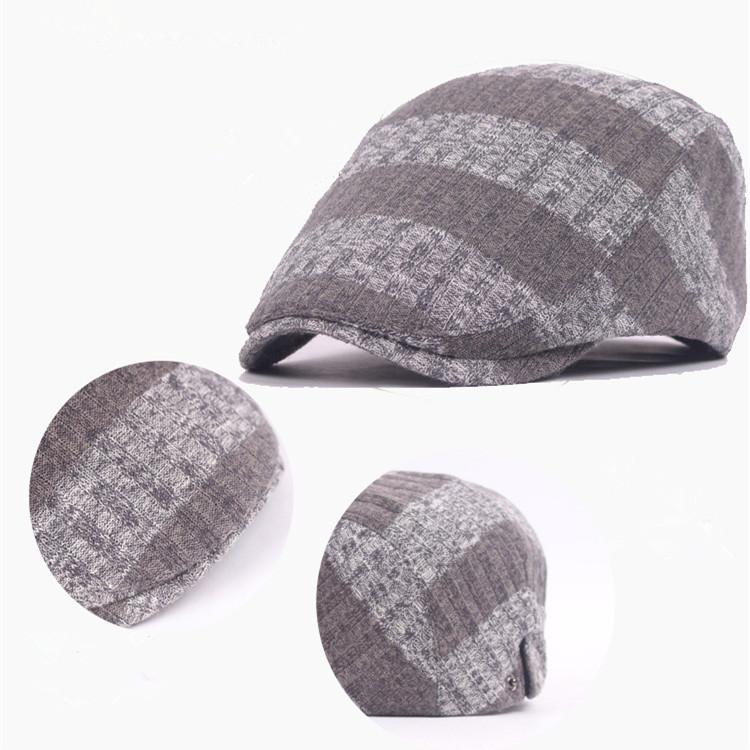 Unisex Knitted Stripe Beret Hat Knitting Buckle Adjustable Paper Boy Newsboy Cabbie Gentleman Cap