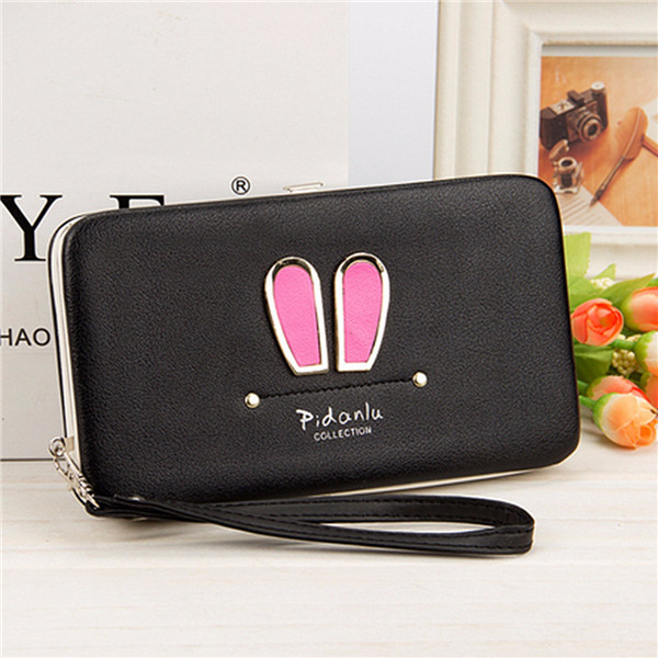 Women Candy Color Rabbit Long Wallet Card Holder Multi-function Phone Case For Iphone Huawei Samsung