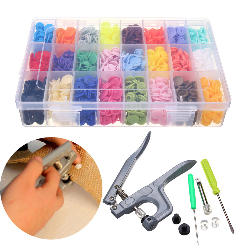 Snap Plier + 360 Set T5 Snap Plastic Buttons Fastener 24 Colors Poppers DIY Mix