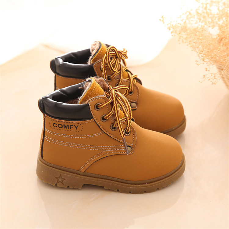 Baby Kids Boy Girl PU Leather Snow Boots Fur Lined Winter Warm Shoes