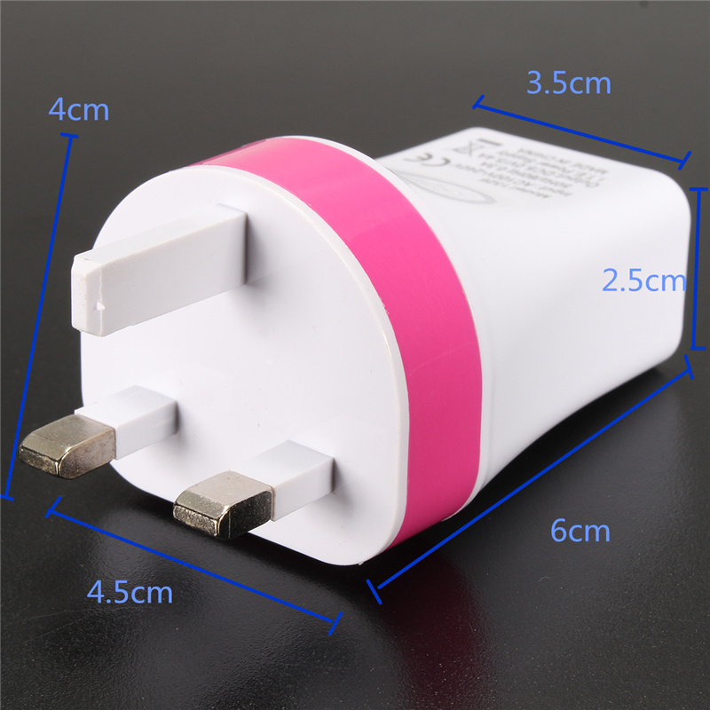 UK Plug 5V 3.4A 3 USB Port Home Travel Wall Charger Power Fast Charging Adapter