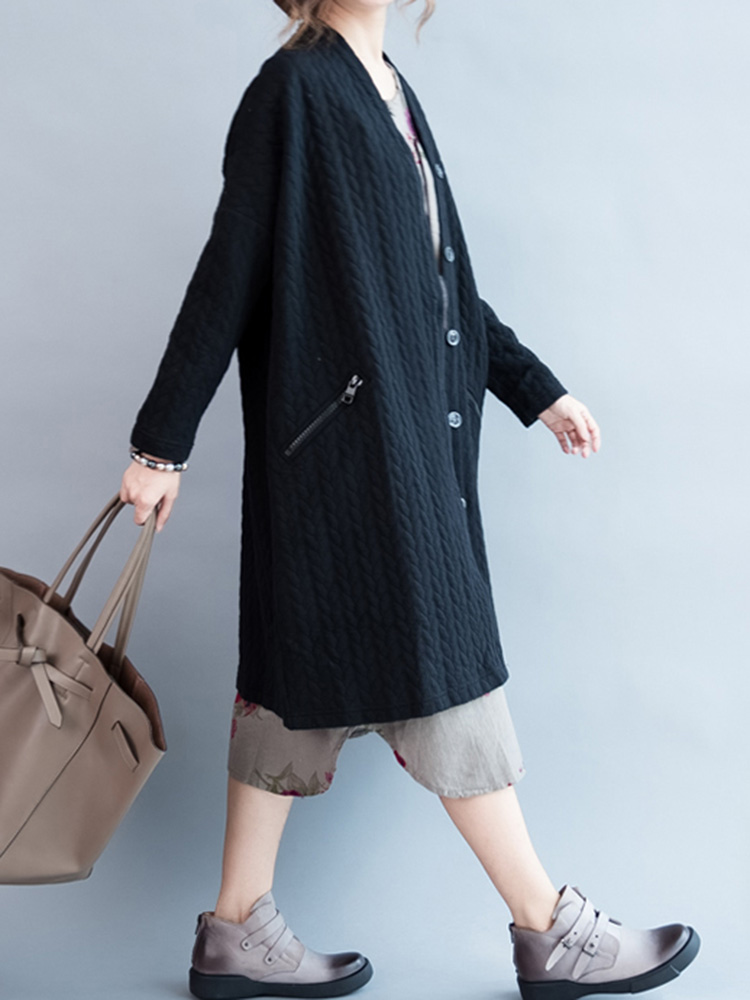 Solid Color Knit Pocket Long Sleeve Calf-Length Cardigans