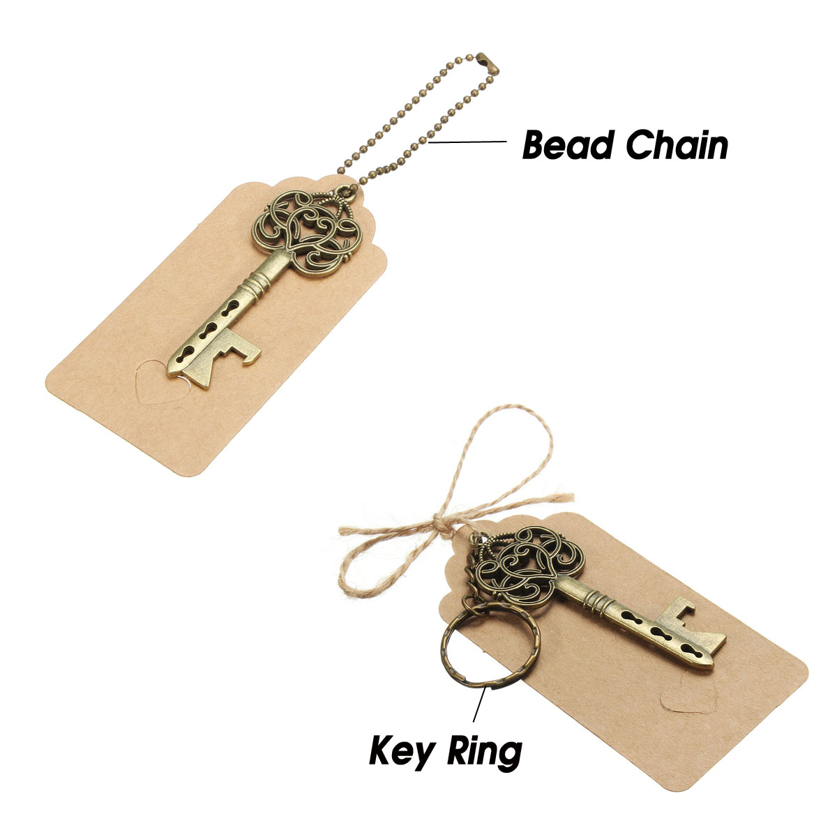 3Pcs Vintage Key Bottle Opener Wedding Favor Gift Candy Box Set Kit