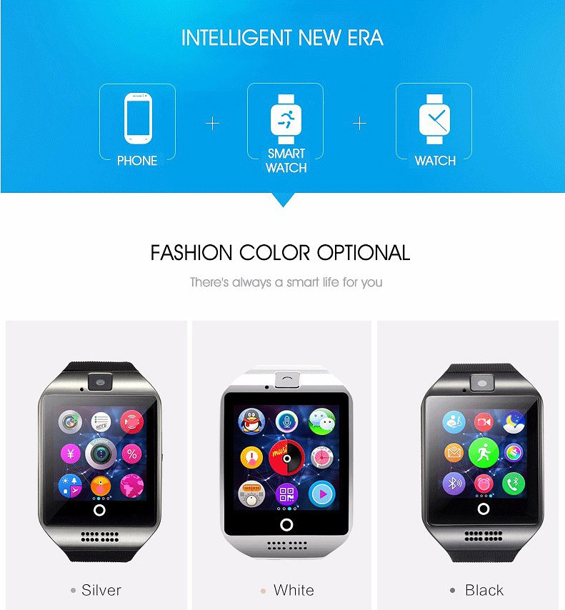 Bakeey Q18 Sleep Monitor Pedometer Camera SMS SIM TF Card Bluetooth Smart Watch For IOS Android