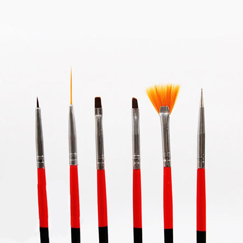 6 Pcs UV Gel Nail Art Design Set Dotting Painting Drawing Polish Brush Pen Tools Kit