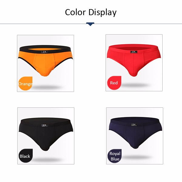 ZK Mens Modal Breathable Antibacterial Sexy Underpants Casual Contrast Color Big Size Underwear