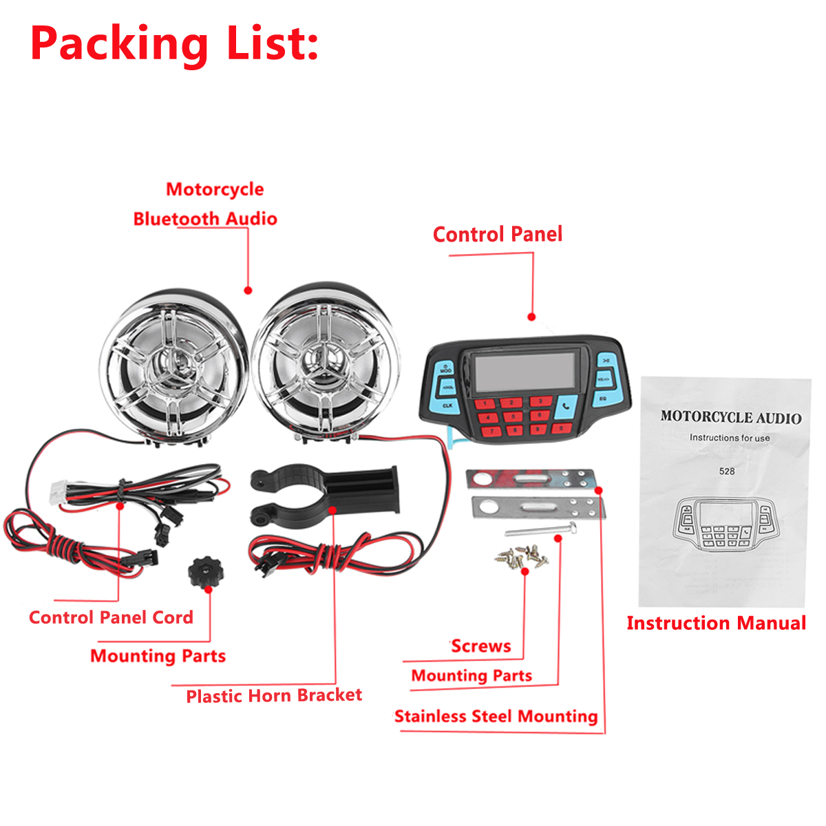 Waterproof Motorcycle Handsfree Speaker Audio FM Radio System Stereo MP3 Player With bluetooth