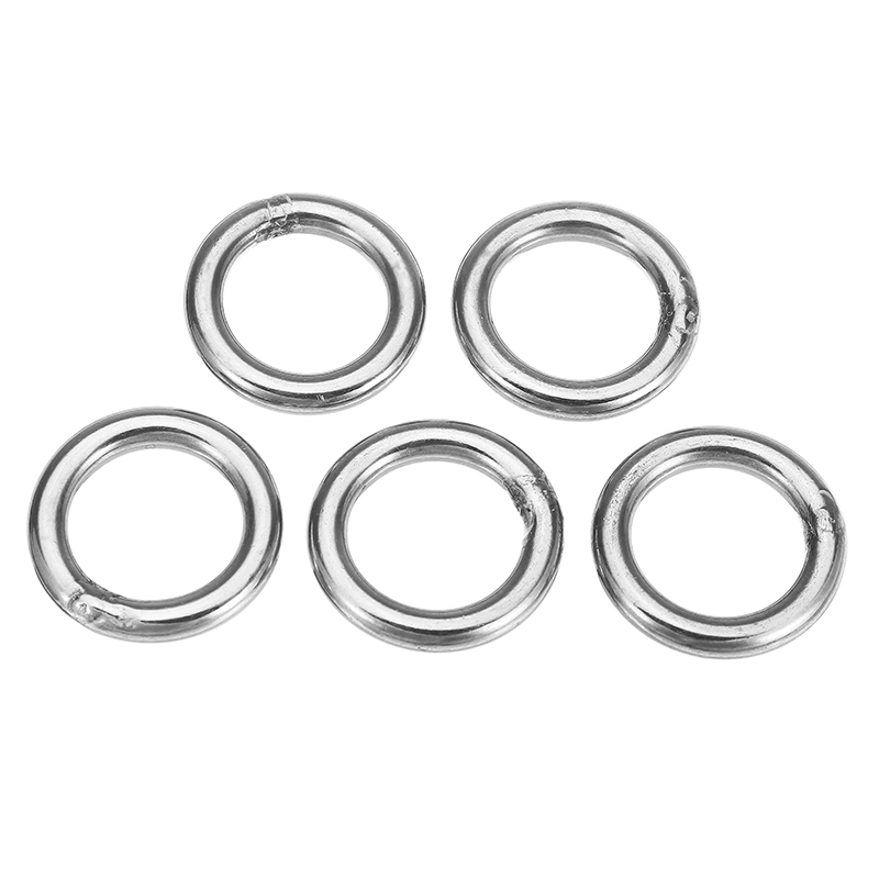 5Pcs 5x30mm 304 Stainless Steel Round O Ring Welded Marine Rigging Strapping Hardware