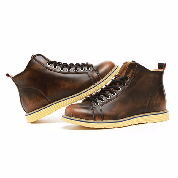 US Size 6.5-11.5 Boots Men Leather Lace Up Casual Outdoor Short Boots