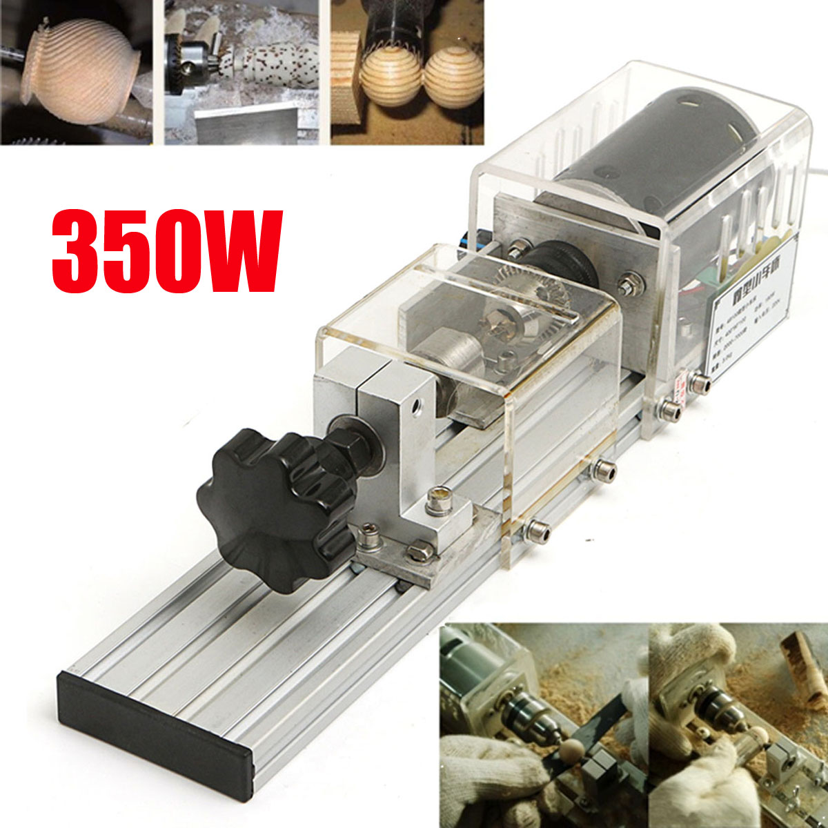 Raitool 350W Mini Lathe Machine Woodworking DIY Lathe Set with Power Adapter