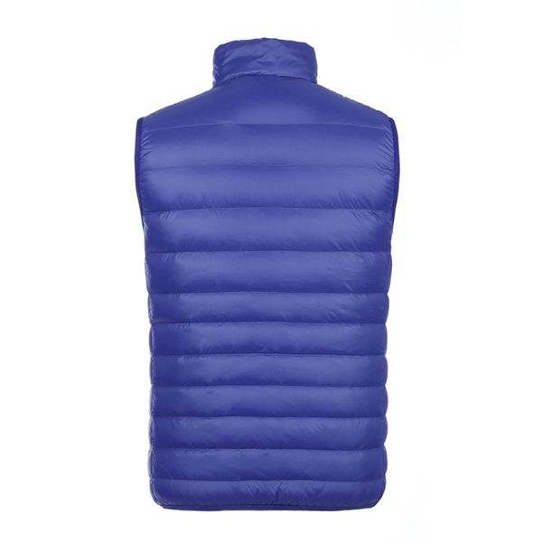 Mens Light Weight Sleeveless Stand Collar Pure Color Fashion Down Vest
