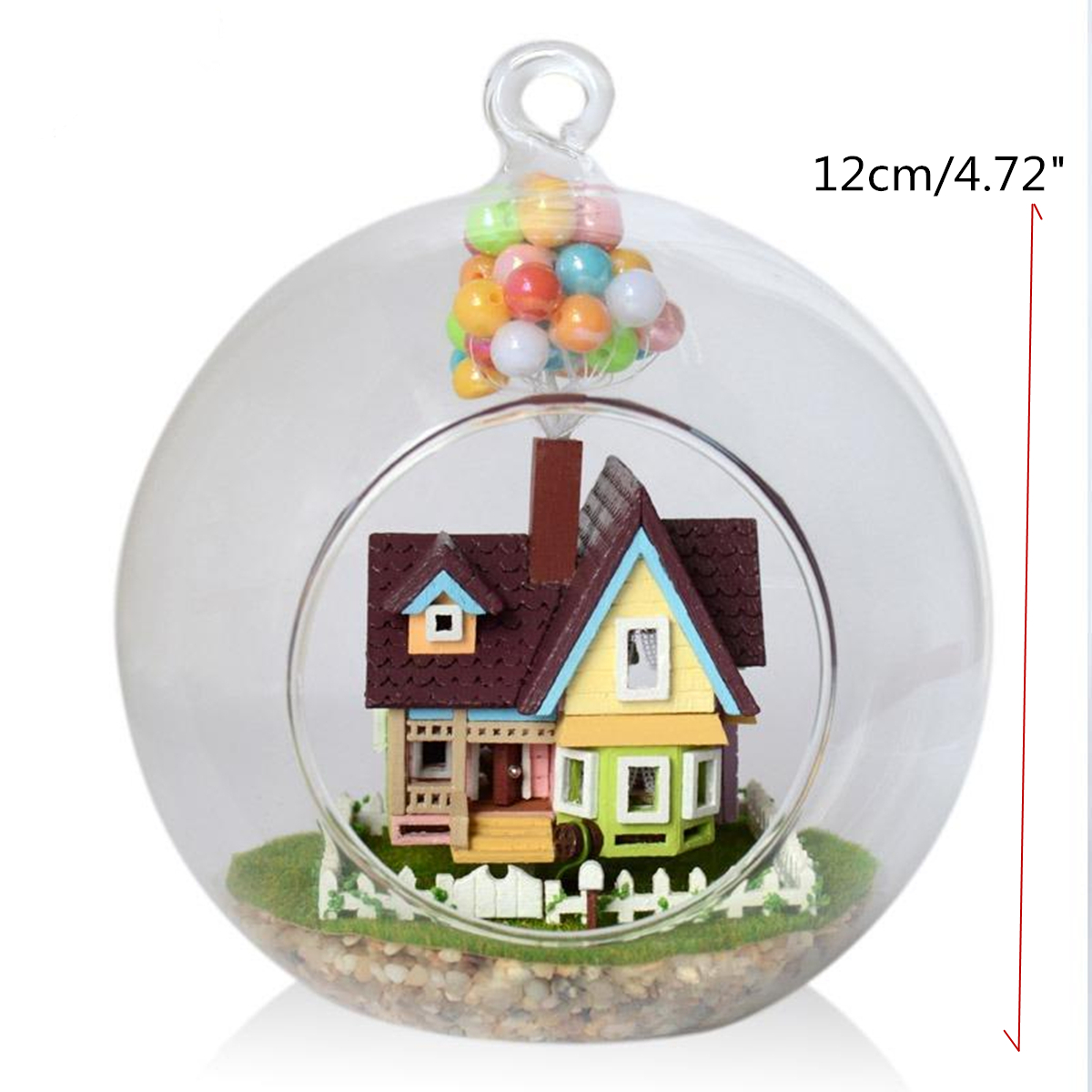 3D DIY Miniature Glass Ball Dollhouse LED Sound Control Light Doll House Creative Christmas Gift