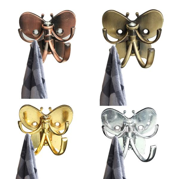 Alloy Butterfly Double Peg Door Wall Bathroom Hanger Hook