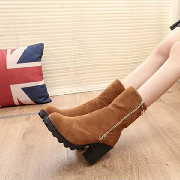 Casual Chunky Heel Side Zipper Mid Calf Metal Short Boots