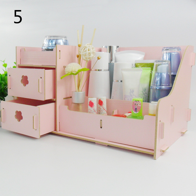 Wooden Make Up Drawer Jewelry Storage Cosmetic Organizer Desktop Office Shelf 5 Colors