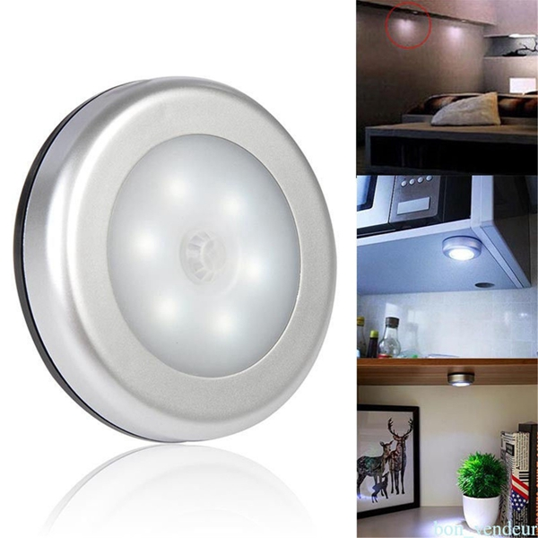 Wireless Ultra-Thin 6 LED PIR Motion Sensor LED Wall Night Light Battery Power for Wardrobe Cabinet