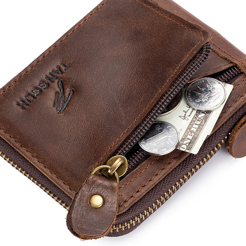 Men Genuine Leather Double Zipper Fashion Wallet