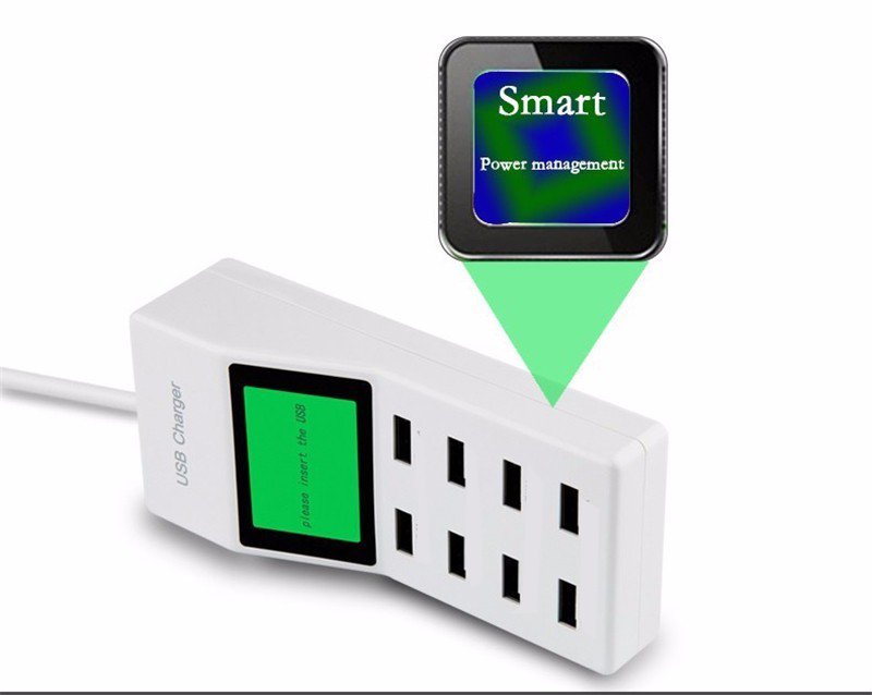 8 USB Ports Led Display UK Plug with LCD Display Charger Adapter for Mobile Phone