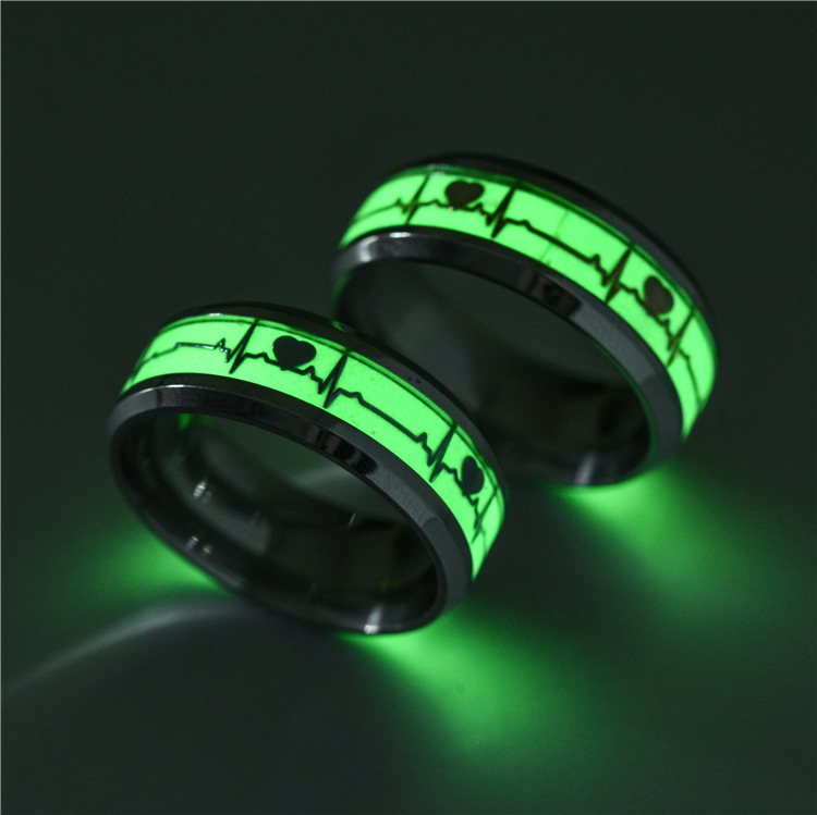 Luminous Heartbeat Stainless Steel Finger Ring Fluorescent