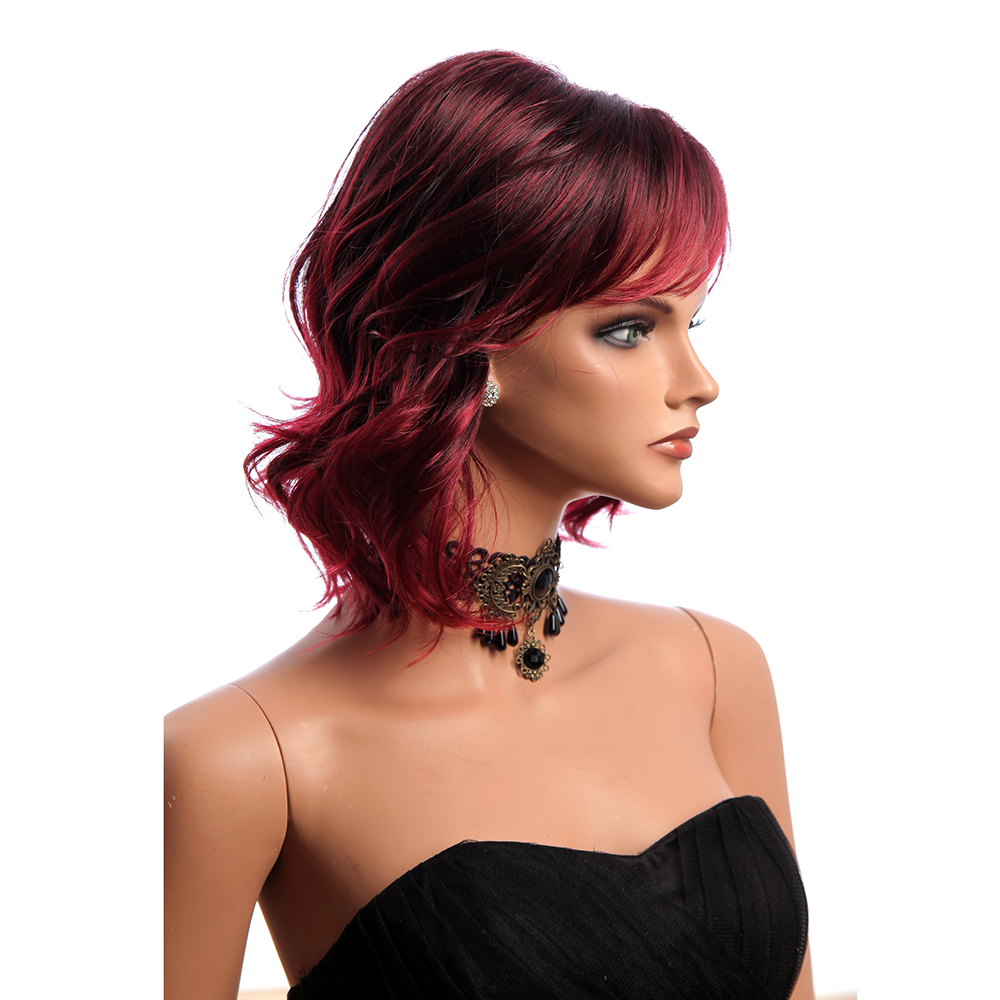 14 Inch Short Curly Synthetic Hair Wigs KANEKALON Side Bang