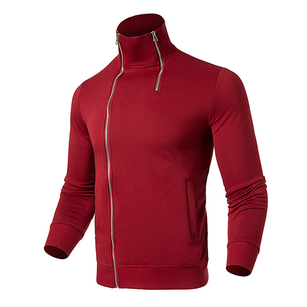 Men's Fashion Double Zipper Stand Collar Sweatshirt
