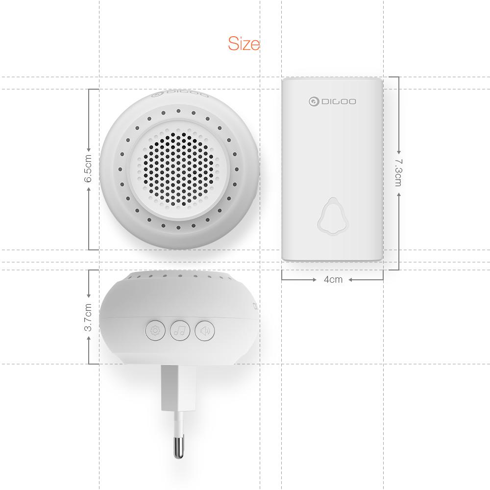 DIGOO DG-SD20 Self-powered Waterproof Wireless Home No battery Volume Adjustable Doorbell EU/UK/US Plug