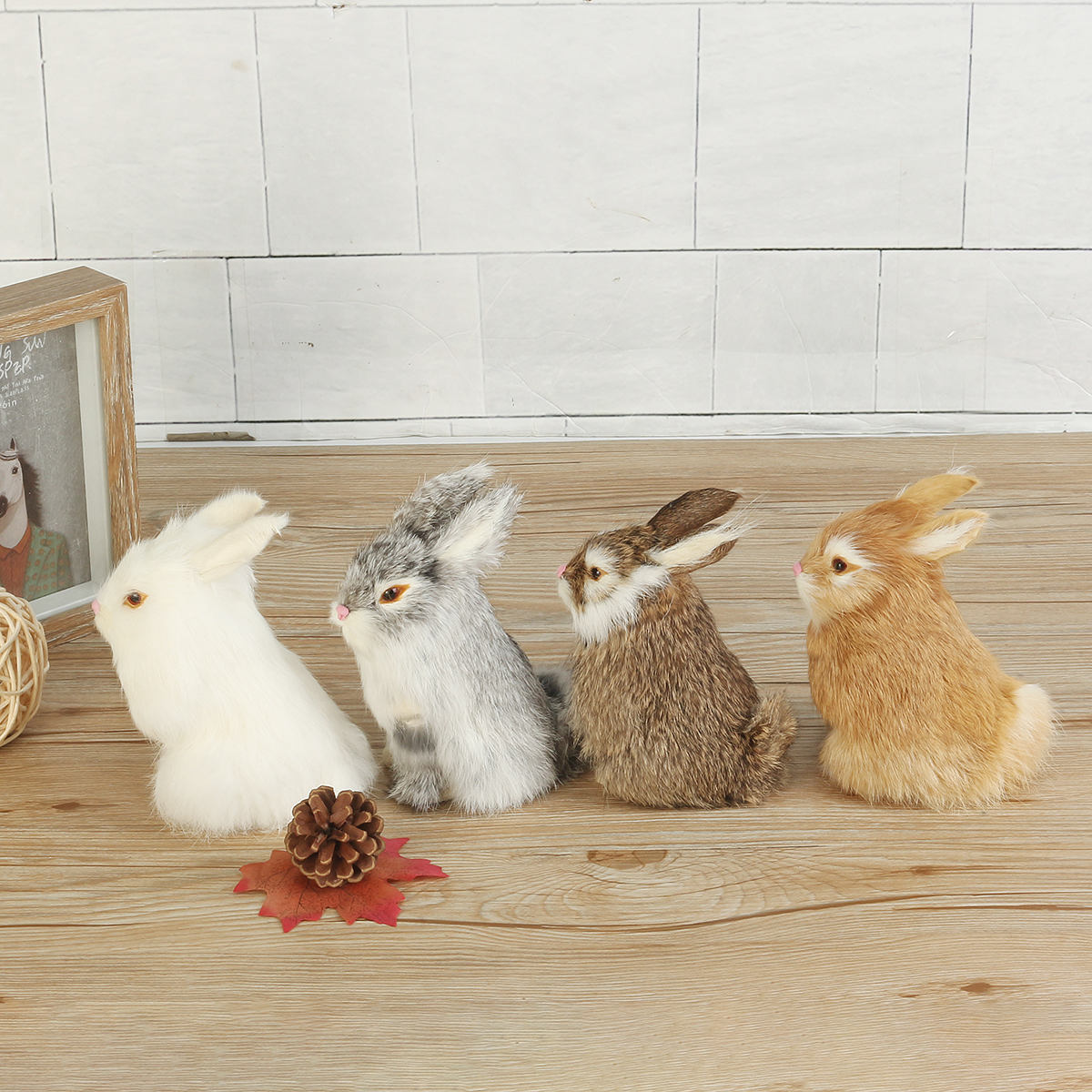 Gray/Yellow/Brown/White Rabbits Handmade Easter Bunnies Home Decorations Desktop Ornament