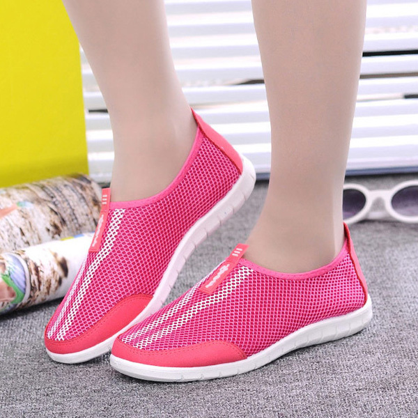 Mesh Shoes Women Breathable Slip On Soft Casual Outdoor Light Flats