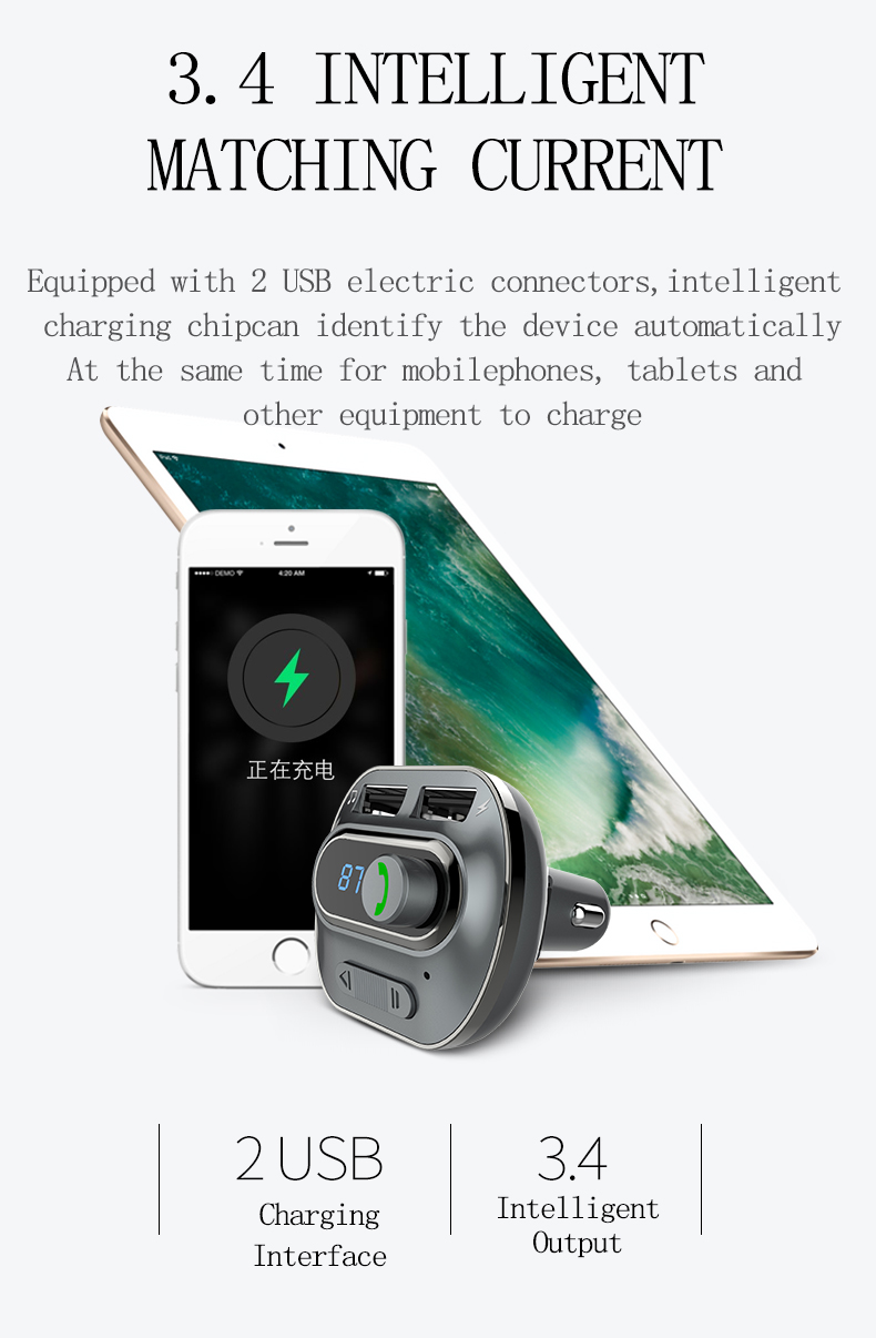 KELIMA T19 Car bluetooth 3.0 Handsfree Car Charger MP3 Media Player