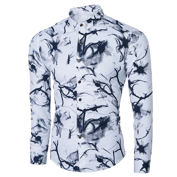 Fall Chinese Ink Painting Printing Slim Fit Business Casual Dress Shirt for Men