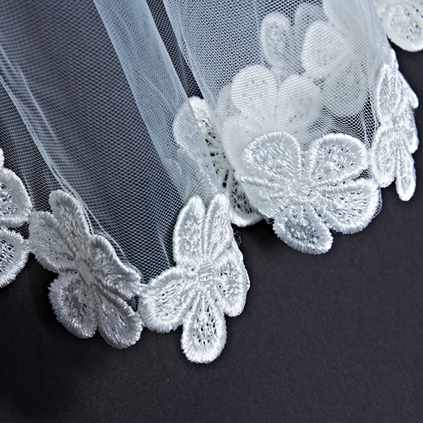 Bride Cathedral Wedding Flower Lace White Veil Long Mantilla Hair Accessories