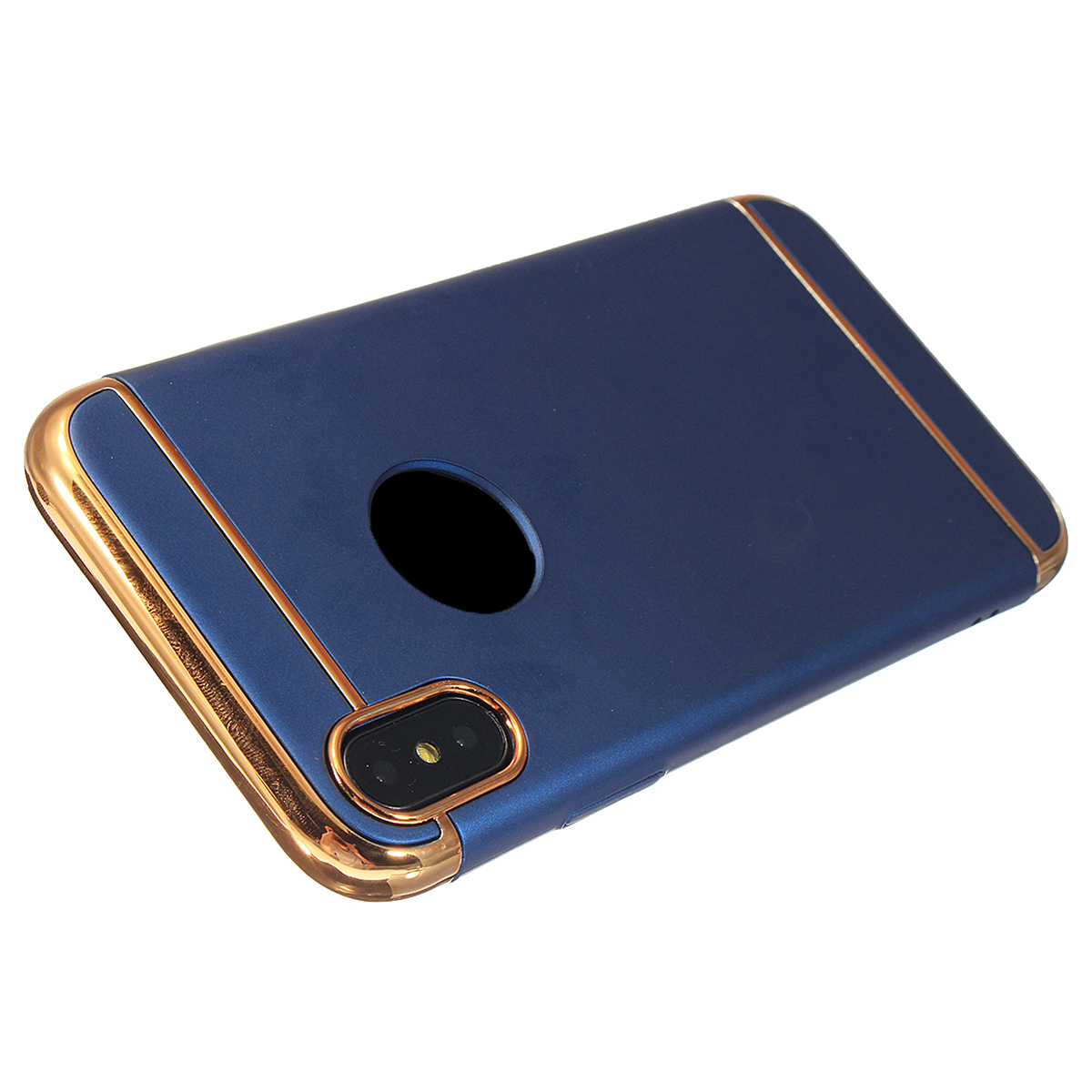 3 In 1 Plating Anti Fingerprint Acrylic PC Case Cover for iPhone X