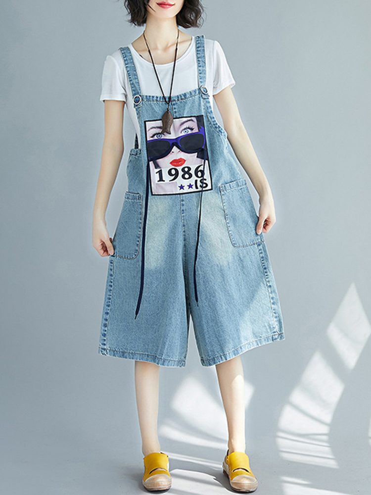 Women Casual Sleeveless Strappy Print Denim Jumpsuit