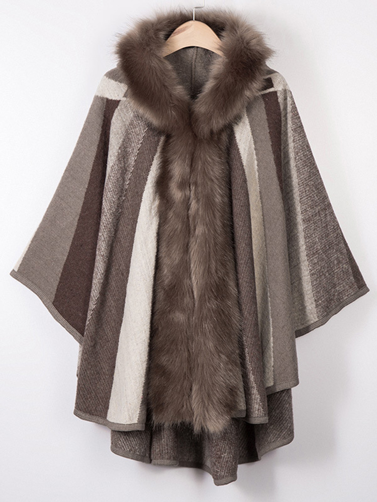 Elegant Fur Collar Striped Bat Winter Warm Cloak Coats