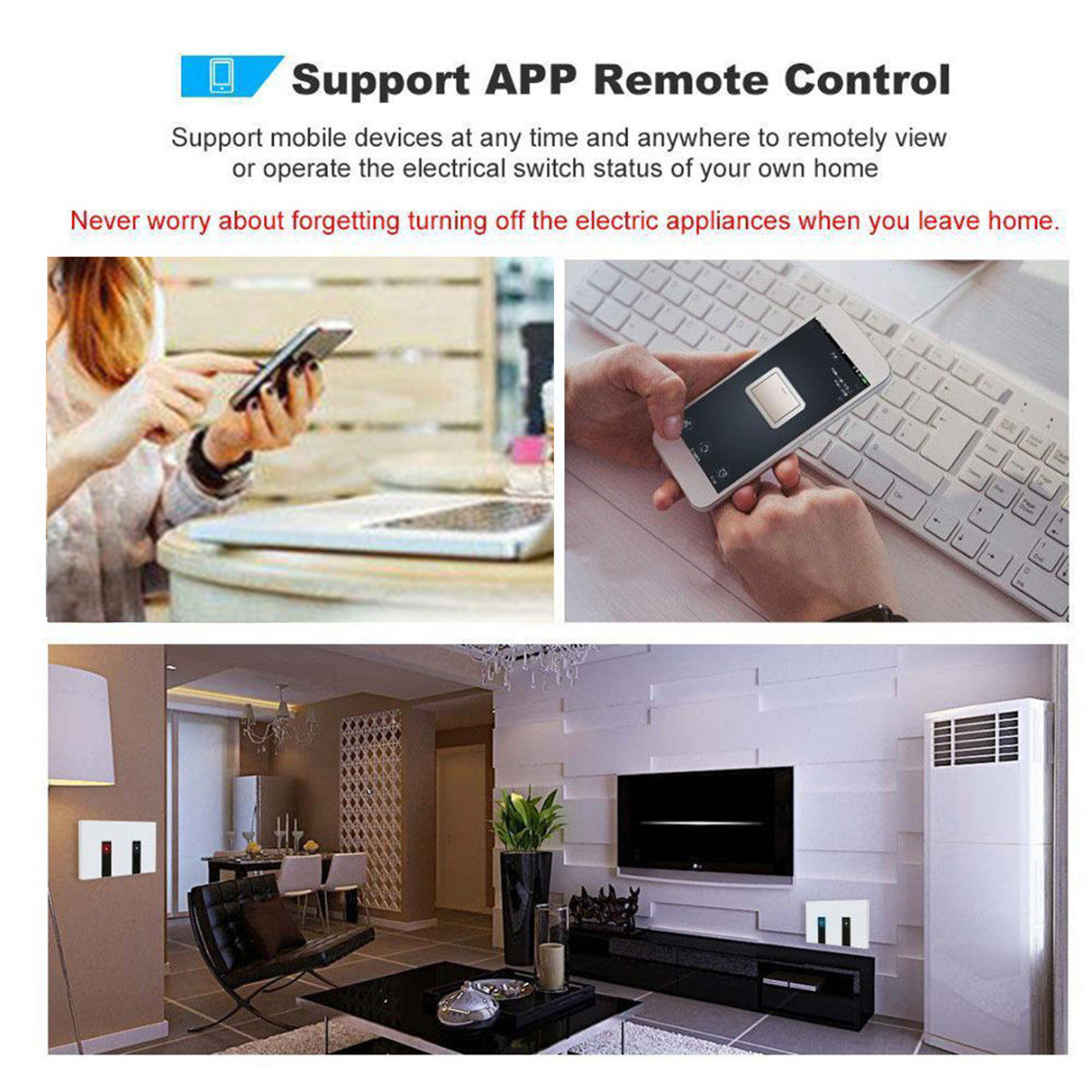 120 Type 1/2/3 Gang Smart Touch Switch WiFi Remote Control Wall Switch Smart Light Switch