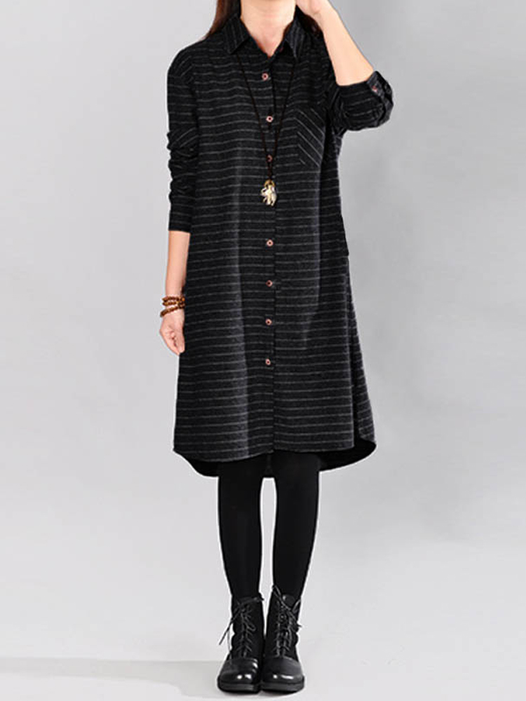 Stripe Buttons Asymmetric Shirt Dress