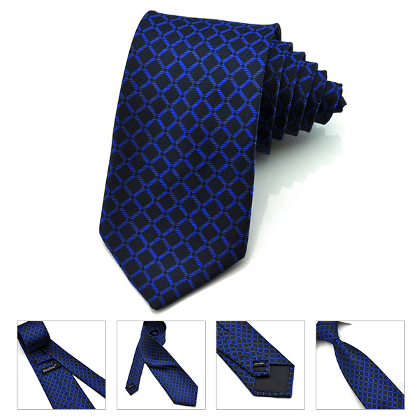 PenSee Mens Tie Jacquard Woven Silk Big Wave Point Necktie -Various Colors Accessory
