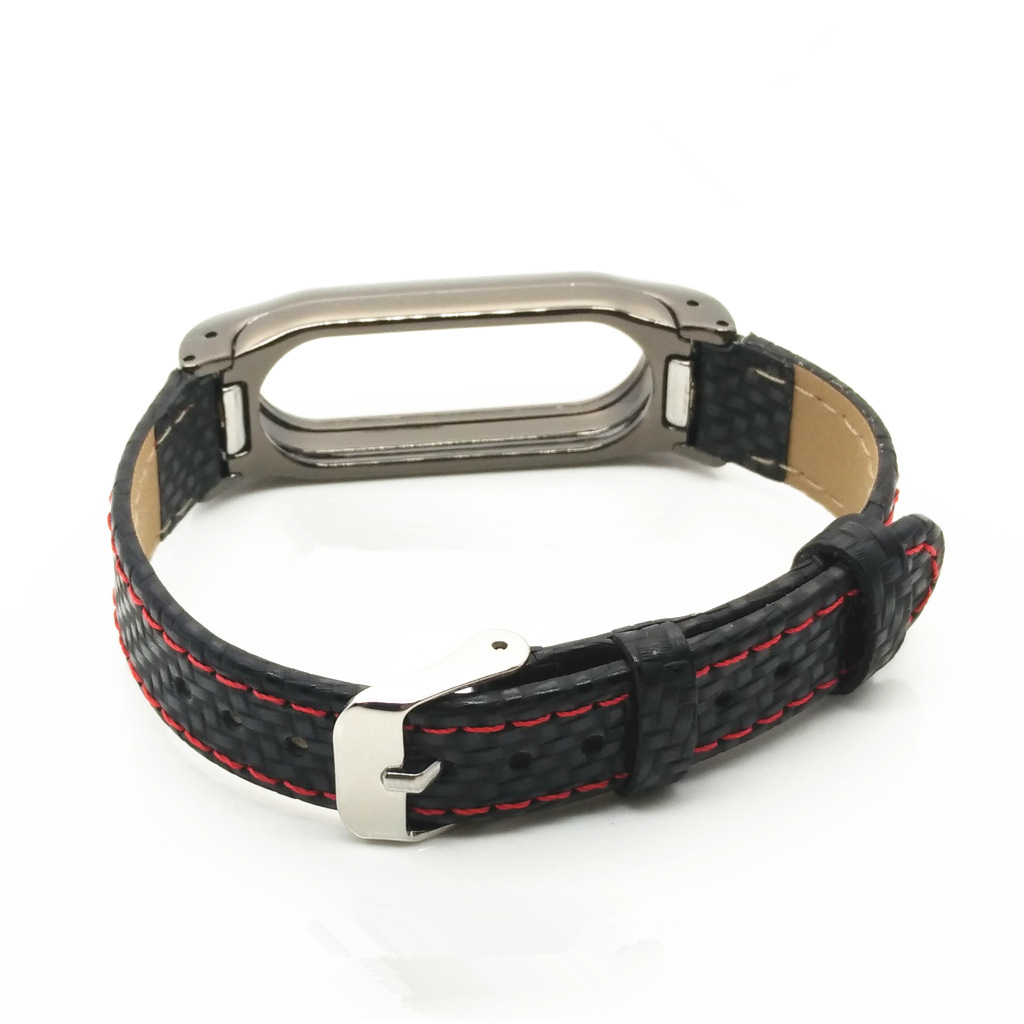 Metal Tainless Steel Frame Braided Leather Strap Replacement for Xiaomi Miband 2