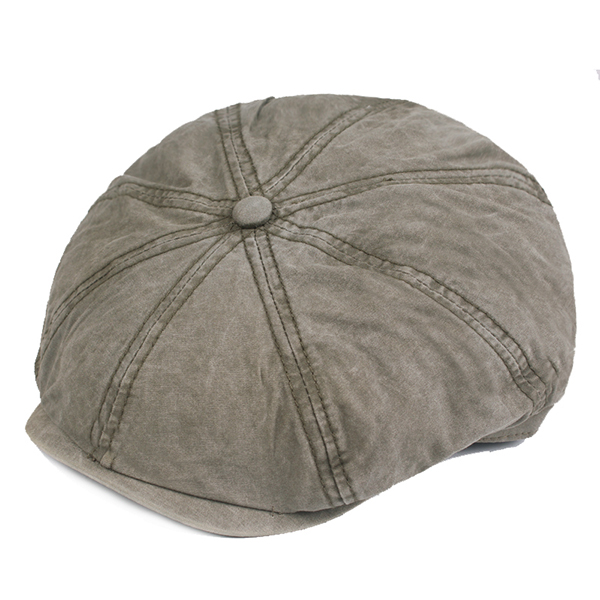 Mens Cotton Solid Sunscreen Newsboy Octagonal Hat
