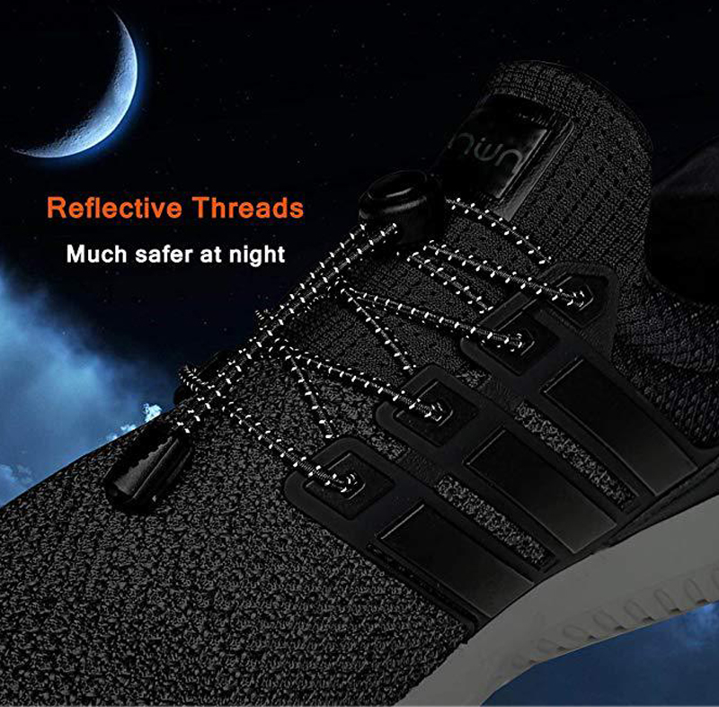 IPRee® Lazy Reflective Shoe Laces Adjustable Buckle Shoelaces Sports Night Running Shoestrings