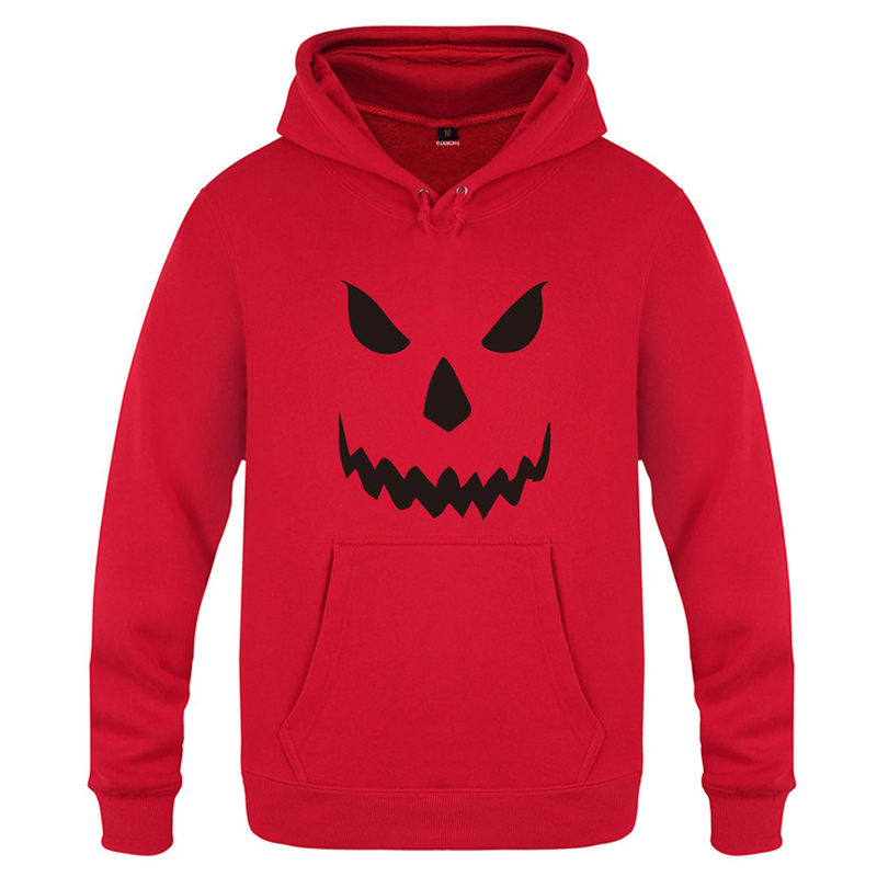 Men's Halloween Design Hooded Rib Cuff Casual Sweatshirt