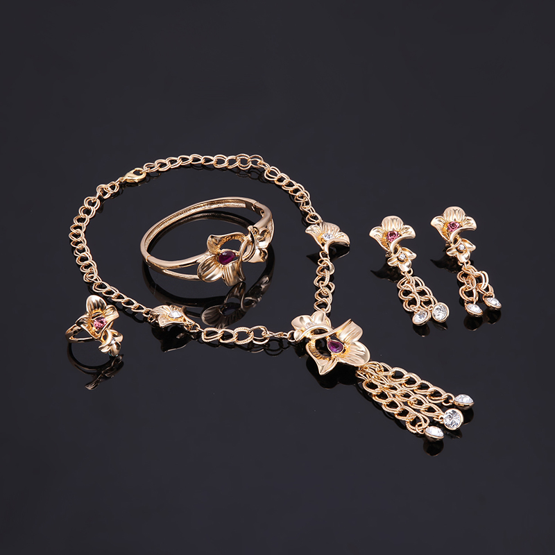 18K Gold Plated Chain Cryastal Bridal Jewelry Set