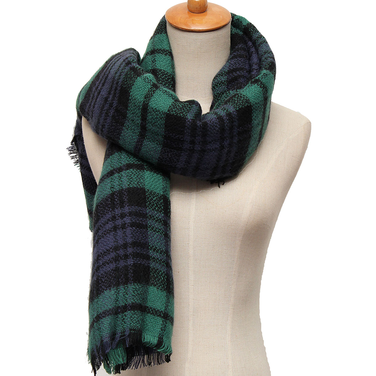 Women Ladies Wool Blend Tartan Neck Stole Plaid Grid Tassel Scarf Wrap Shawl Pashmina